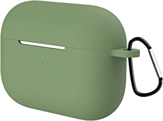 GEEMEE Airpods Pro ケース シリコン 保護カバー カラビナ 紛失防止 キズ防止衝撃吸収 スリム 薄型 滑り止め 軽量小型 防塵 軽量 便利 旅行 収納ケース Airpods Pro用 ケース(グリーン)