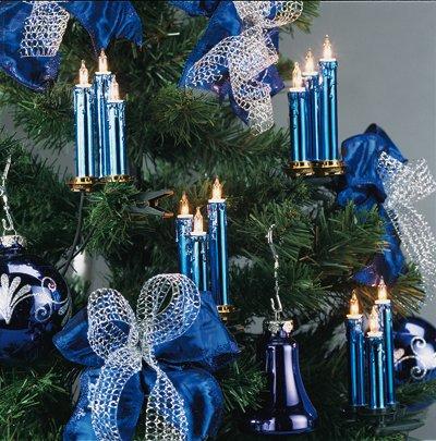 Hellum Triaden Lichterkette 48 Kerzen blau-metallic