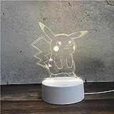 Luz Nocturna ,Lámpara De Ilusión Óptica Led 3D Con Placas Acrílicas De Patrones,Lámpara De Visualización Creativa Usb Regalo Para Niños,Pikachu