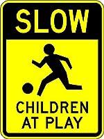 安全標識-遊んでいる子供たち。 金属スズサインUV保護および耐候性、通知警告サイン