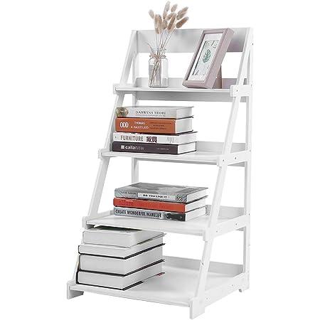 Estantería de 4 niveles estilo escalera de madera plástico, estante de almacenamiento con marco en A, escalera inclinada, soporte para plantas, ...