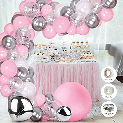 WayEee Luftballons Ballongirlande 121pcs Ballons Girlande Set Latex Konfetti Ballons Dekoration Ballons mit Ballonband für Geburtstag Party Hochzeit Babyshower
