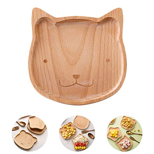 Kitchenmore Holzteller Snackteller Teller Platter Holzschale, Servierschale,Kindergeschirr, Babyteller