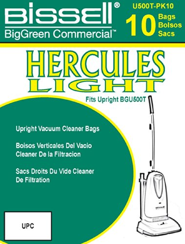 BISSELL BigGreen Commercial U500T-PK10 Hercules Light Upright Vacuum Bags, Volume Capacity 1.2