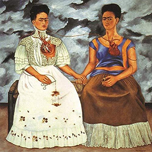 Tela Stampa Wall Art Immagine, Frida Kahlo Autoritratto Due Donne Sedute Su Una Sedia Oil Painting Home Decor Poster Photo Camera Da Letto Ufficio, Senza Cornice,50×50cm