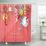 Not applicable Duschvorhang Pink Baby Sweet Birthday mit bunten Luftballons & Platz für Text geboren Duschvorhänge Sets,72X72 In