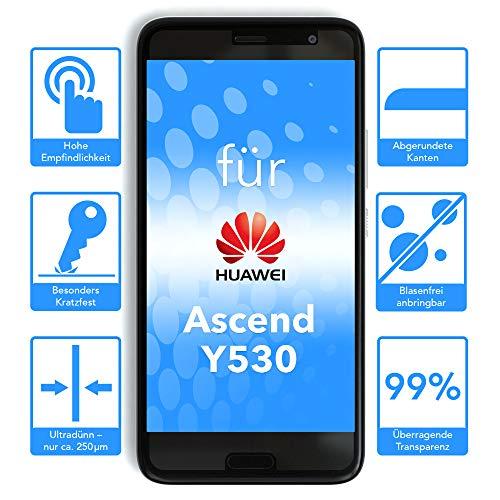 EAZY CASE Silikonhülle & Panzerglas Set kompatibel mit Huawei Ascend Y530 I Displayschutzglas, Panzerglas 0,3 mm 9H Härte, Schutzhülle Ultra dünn, Silikon Hülle, Backcover, Transparent/Kristallklar - 3