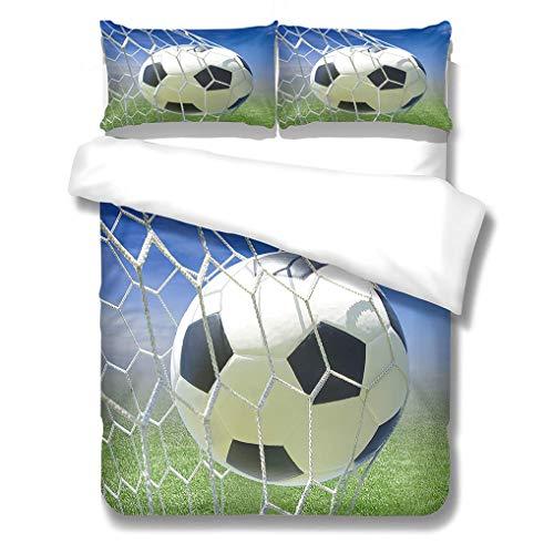 3D Football Bedding set Green Blue Black White Duvet Cover and Pillowcase Microfibre Boy Child Adolescent Duvet Cover With Zipper (Style 1,Single 135x200 cm)