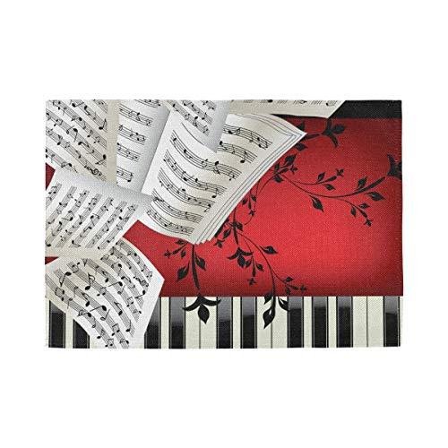 Inicio Art Music Piano persoonlijke tafelonderlegger, hittebestendig, gemakkelijk te reinigen, antislip, binnenkant 12 x 18 x 1