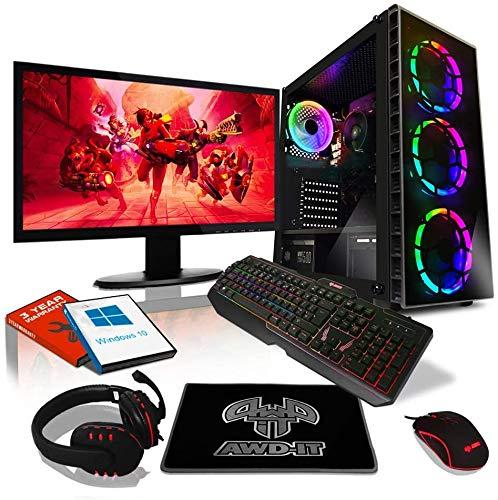 """AWD-IT Ensemble PC de Bureau de Jeu - APU AMD Ryzen 5 3400G 4,2 GHz/Radeon Vega 11 • Écran LED 24"""" • Clavier et Souris Gamer • 16 Go • 1 to • Étui à Raider RGB • Windows 10"""