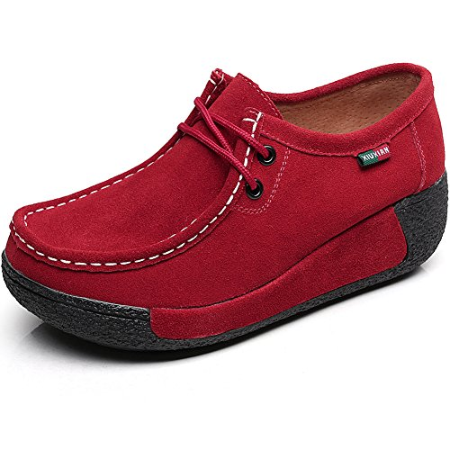Shenn Mujer Zapatos Formal Plataforma Oculto Tacón Cuña Gamuza Zapatillas De Moda...