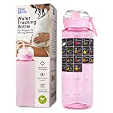 BELLYBOTTLE Pregnancy Water Bottle Intake Tracker with Weekly Milestone Stickers (BPA-Free) Pregnancy Gifts for First time Moms Must Haves Essentials - Pink
