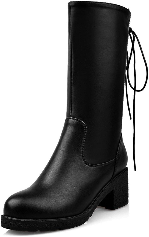 Nine Seven Leather Women's Round Toe Chunky Heel Drawstring Handmade Mid Calf Boot