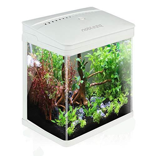 Nobleza - Aquarium en Verre avec Couvercle et lumières LED, Complet Bocal Poisson, Système de Filtration de 14 litres. Couleur Blanc.