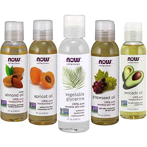 New Now Foods Solutions 5 Pack - Carrier Oil Gift Set: Almond Oil - Grapeseed Oil - Avocado Oil - Apricot Oil - Vegetable Glycerine Oil 100% Natural Moisturizing Massage 4 Oz