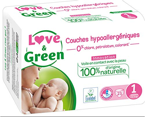 Love & Green Couches Hypoallergéniques 23 Couches Taille 1 (2-5 kg)
