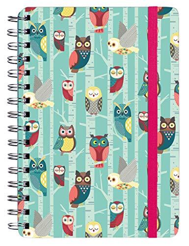 Notizbuch Eulenwald mit Spiralbindung | auch als Tagebuch geeignet | DIN A5 | 150 Seiten, liniert