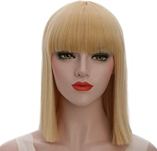 karlery Straight Short Hair Bob Wigs with Flat Bangs Synthetic Wigs for Women Natural As Real Hair (Blonde)