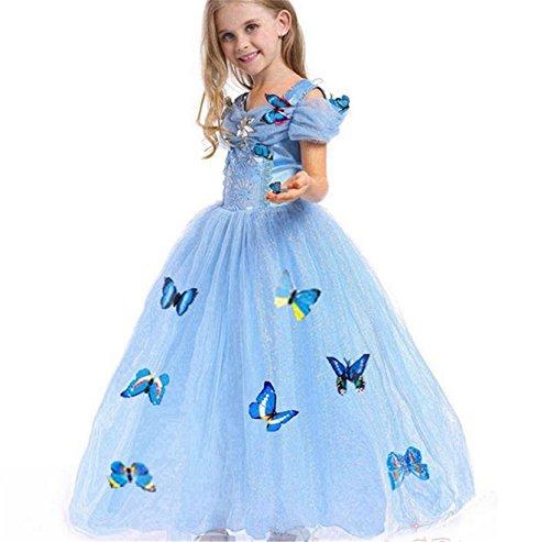 Kosplay Mädchen Prinzessin Kostüm Eiskönigin Kleid für Mädchen Schmetterling Karneval Verkleidung Party Cosplay Faschingskostüm Festkleid Weinachten Halloween Fest Kleid, Farbe: Style 1, Gr. 120
