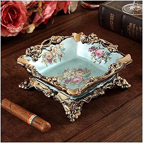 Cenicero portátil resina cenicero pintado a mano alivio cigarrillo cenicero adecuado para el hogar sala de estar mesa hermosa decoración artesanía uva flores plata