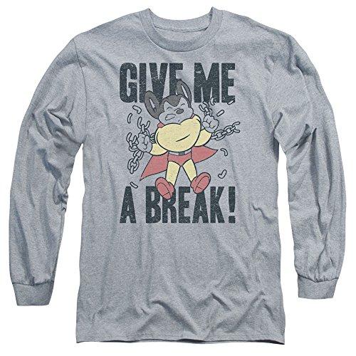 Mighty Mouse - Hommes Donnez-moi un T-shirt à manches longue pause, Large, Athletic Heather