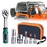 Torx Tool Kit for Jeep Wrangler 2-4 Doors Soft Top Hard Top Door Install Removal Tool Kit Replace 82214166AB Fits 2007-2019