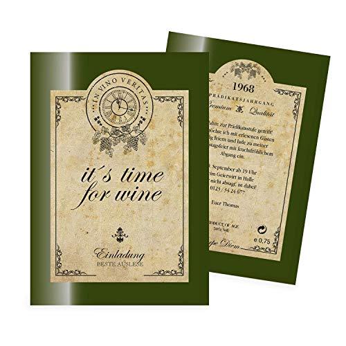 Einladungskarten Geburtstag als Weinetikett gestalten | 30 Stück | Einladungen Geburtstag | Lustige Geburtstagseinladungen | Witzige Einladungskarte | Karte Einladung | Inkl. Druck Ihrer Texte