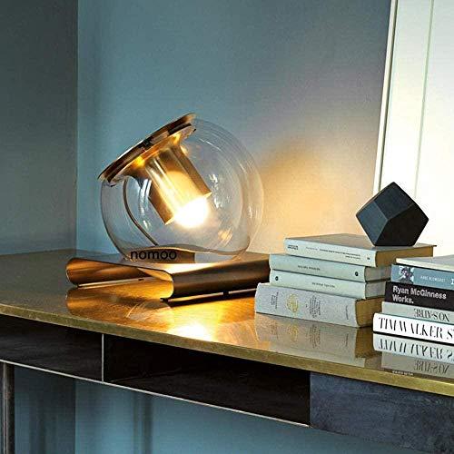NA Gel Nail Lámpara de Mesa de Lectura Led de cabecera de Dormitorio Redonda Creativa Lámpara de Mesa de Cristal de Personalidad Simple para Estudio