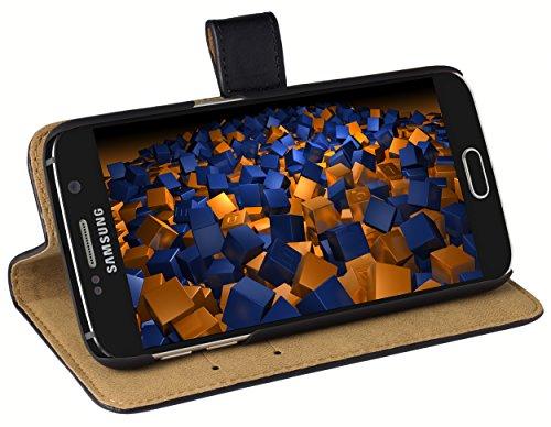 mumbi Echt Leder Bookstyle Case kompatibel mit Samsung Galaxy S6 / S6 Duos Hülle Leder Tasche Case Wallet, schwarz