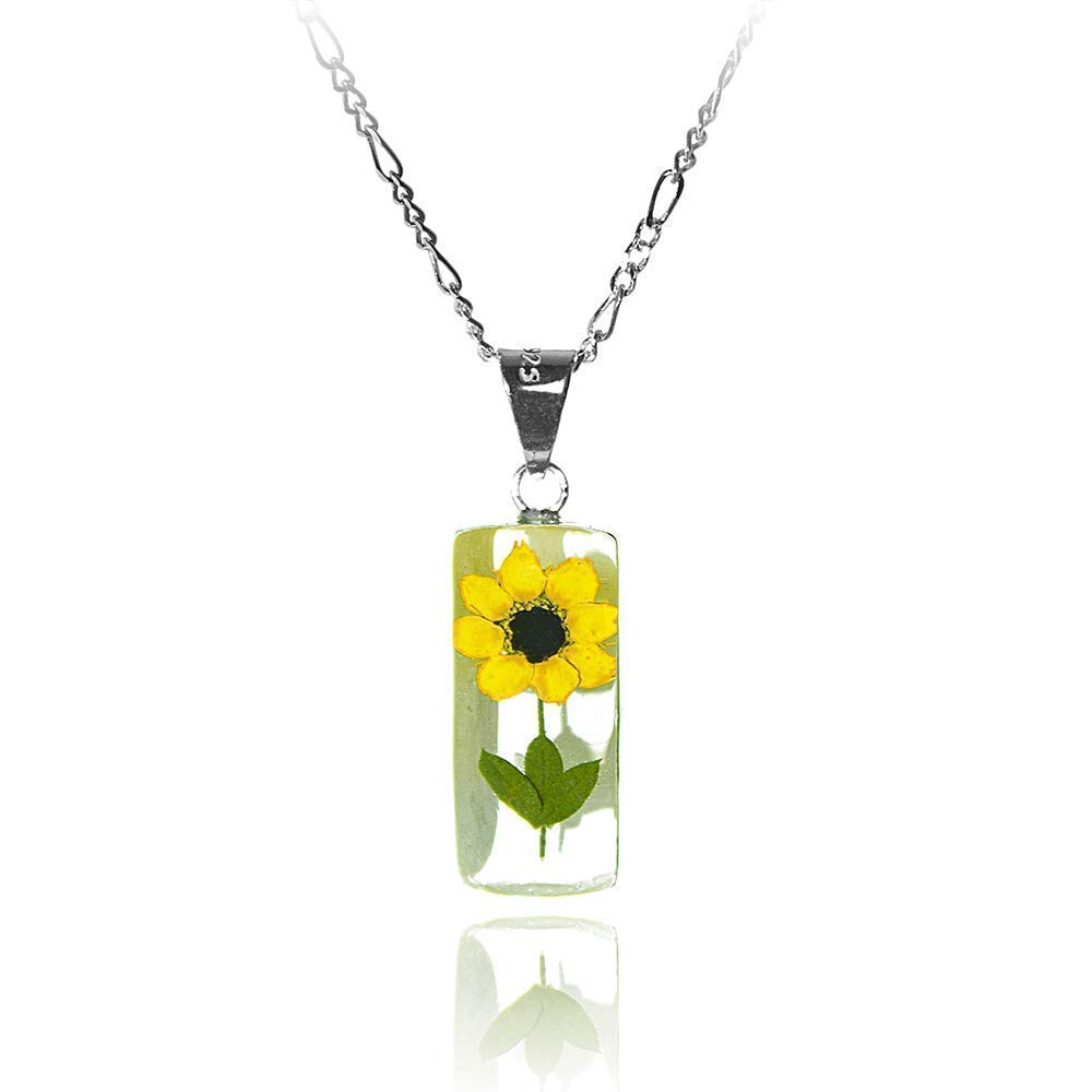 Cylinder Necklace with Natural Bombing free shipping Long-awaited Sunflower Silver TA Sterling 18