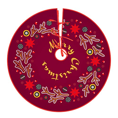 Yakuin christbaumdecke Kurzer Plüschpflanzendruck Weihnachtsbaumdecke Rund(122cm) baumdecke für Weihnachtsfeier Dekoration-dunkelrot