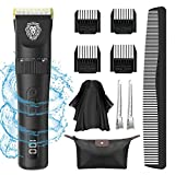 Hair Clippers for Men - Clippers for Hair Cutting Mens Hair Cutting Kit With 4 Guide Combs and Cape, LED Display Rechargeable Cordless Hair Clippers Mens Gifts for Birthday, Storage Bag Combs Cape