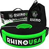 Rhino USA Recovery Tow Strap - Heavy Duty Emergency Off Road Towing Rope (20' x 2' Strap)