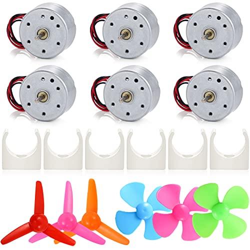Sntieecr 6 Juegos de Mini Motores de generador de 3 V-12 V CC, generador de turbina eólica con Mini Hoja de Ventilador y Soporte de Motor de plástico para Juguetes educativos de Bricolaje