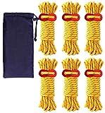 ガイロープ パラコード ロープ テントロープ オレンジ 反射材入り ガイライン タープロープ 反射 6本 セット 4mm * 4m キャンプ アウトドア アルミニウム 自在金具付き 収納袋付き