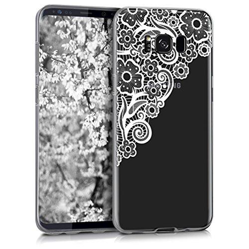 kwmobile Funda Compatible con Samsung Galaxy S8 Plus - Carcasa de TPU y Trama Floral en Blanco/Transparente
