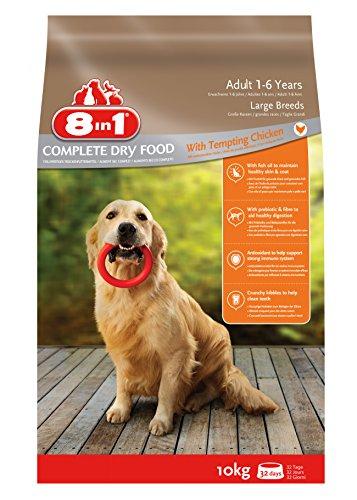 8in1 Hund Erwachsen Groß Huhn (Trockenfutter für große Hunderassen mit Hühnchen), 10 kg Beutel, 1er Pack (1 x 10 kg)