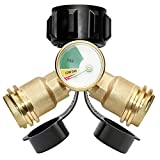 DOZYANT Propane Splitter, Propane Tank Y Splitter Adapter with Gauge, 2 Way LP Gas Adapter Tee Connector for 20lb Propane Tank Cylinder, Work with BBQ Grills, Camping Stoves, Gas Burners, Heater
