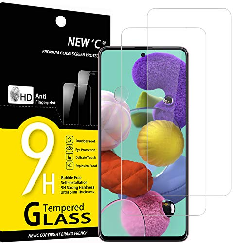 NEW'C 2 Stück, Schutzfolie Panzerglas für Samsung Galaxy A51, Frei von Kratzern, 9H Festigkeit, HD Bildschirmschutzfolie, 0.33mm Ultra-klar, Ultrawiderstandsfähig