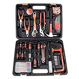 Juego de herramientas de mano para el hogar, 100 piezas, herramientas de mecánica para reparación del hogar con caja de herramientas de plástico
