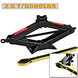 CPROSP Scissor Jack for car/SUV/MPV max 2.5 Tons/5,500lbs Capacity with Hand Crank Trolley Lifter with Ratchet