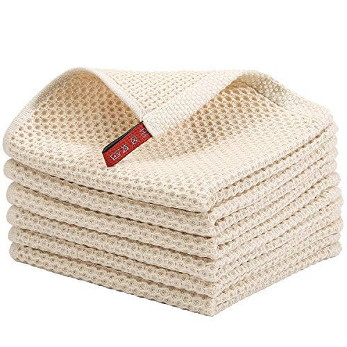 KIMHIRO 100 Cotton Kitchen Dish Cloths Lightweight Waffle Weave Tidy Kitchen Dish Cloths Soft Absorbent Quick Drying Dish Towels 12x12 Inches Set of 6 Beige
