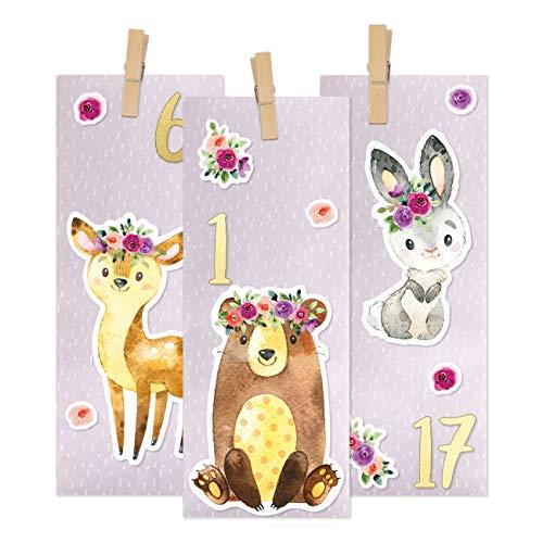 PaPIerDraCHeN Calendario dell'avvento Fai da Te da riempire - Dorato da attaccare - con 24 Sacchetti di Carta Stampati Viola e Grandi Adesivi per Bambini - Natale