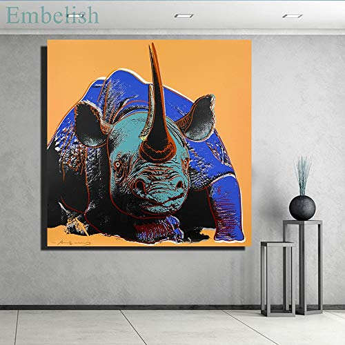 KWzEQ Canvas Painting rhinoceros for posters andpictures artwork wall art decor for living room80x80cmFrameless painting