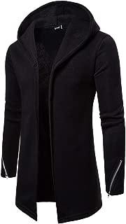Men's Hooded Solid Zipper Trench Coat Jacket Cardigan Long Sleeve Outwear