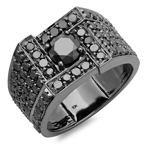 Anillo para hombre, de oro blanco de 10 ct., 4,50quilates, diamante de corte redondo, negro