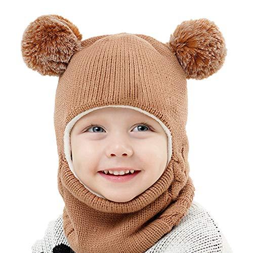 Baby Winter Hat and Mitten Set Infants Toddler Kids Winter Beanie Bear Hat Fleece Lined Hood Scarves Warm Earflap Caps (Khaki)