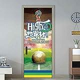 3Dドアステッカー、 室内ドア用のドアステッカー、ホームベッドルームインテリアDIYのための3Dドアステッカーウォールの壁画ワールドカップサッカー試合スタジアムの壁紙 (Size : 77 X 200 CM)