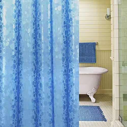 Duschvorhang 183 x 200cm Anti-Schimmel, Wasserdicht Vorhang an Badewanne Antibakteriell, 0.2mm weiß Vorhang für Dusche 3D Steinmuster, 100prozent Eva, inkl. 12 Duschvorhangringen kinderfre&lich