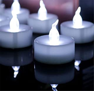 24 Pack Flameless LED Tea Lights Candles – Steady Cool White Tealight Candle – Long Lasting Battery Operated Fake Candles – Decoration for Wedding, Party, and Festival Celebration (Cool White)